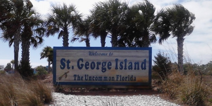 St. George Island Sign when coming on to the Island
