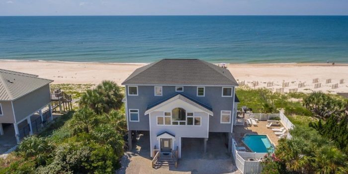 gulf front home with private pool located in the Gulf beaches